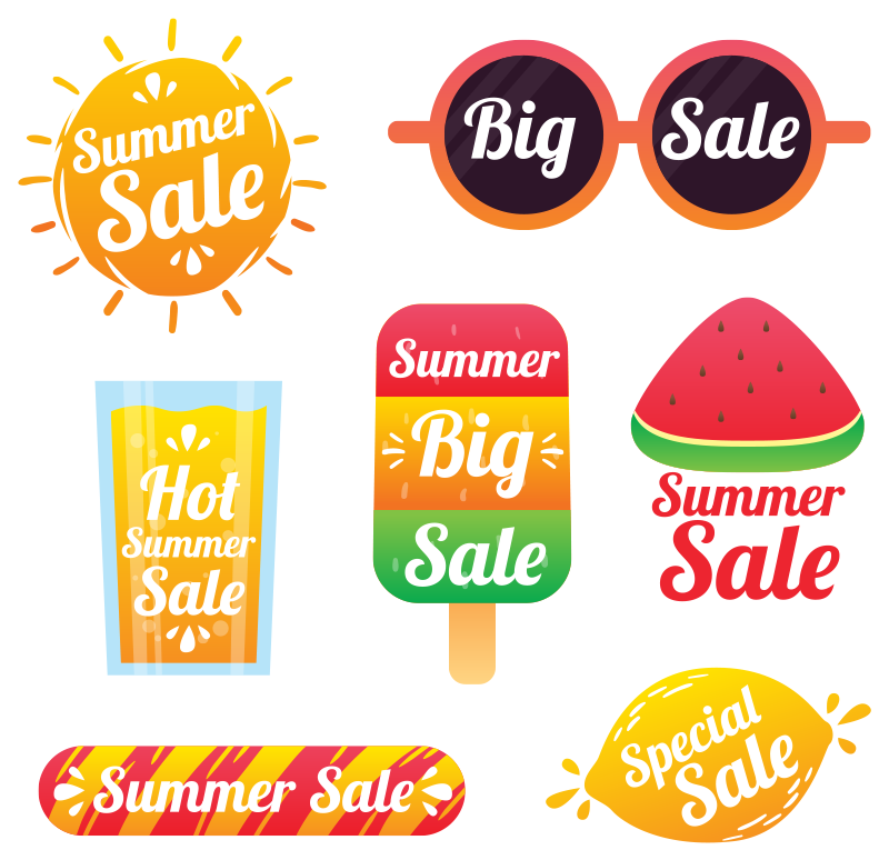 TenStickers. Pack of summer  sale wall sticker. Business shop window decal created in colourful multiple packs that you can apply in the manner you want. This design is easy to apply.