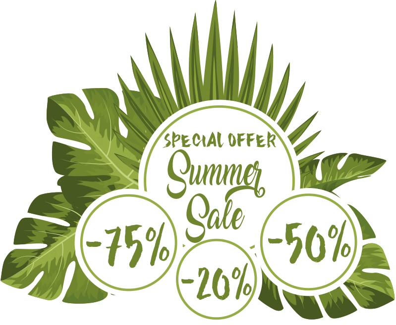 TenStickers. Tropical summer sale sticker. Business shop window decal created on a very nice looking tropical style background that you will love to apply on your shop window to promote sales.