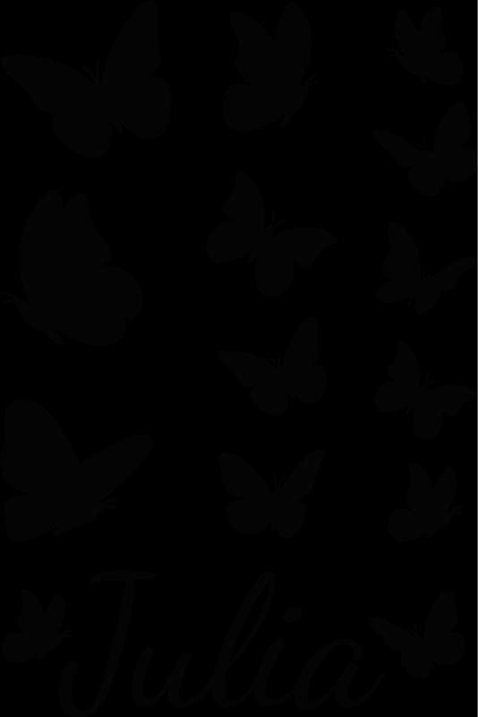 TenStickers. Naklejka na okno motylki z imieniem. Dekoracyjna naklejka na okno motyl, którą możesz mieć w dowolnym kolorze, rozmiarze i przede wszystkim, z Twoim imieniem.