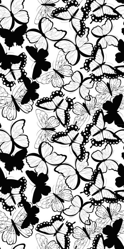 TenStickers. Autocolante para janela muitas borboletas. Autocolante translúcido para janela com um design composto por múltiplas borboletas. Esse produto pode ser usado na sala e no quarto.
