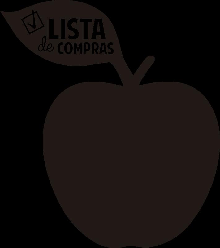 """TenStickers. Autocolante de ardósia Maçã lista de compras . Magnífico autocolante decorativo de ardósia em forma de maçã a dizer """"Lista de compras"""" ideal para decorar o seu frigorífico."""