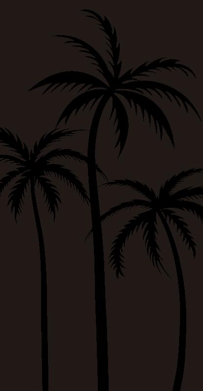 TenStickers. 棕榈淋浴贴花. 易于应用的棕榈树装饰淋浴屏风贴花设计,您可以使用任何其他颜色来美化淋浴门的表面。