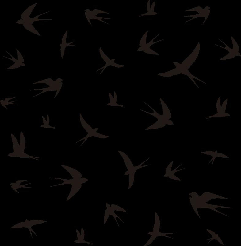 TenStickers. ласточки на окне. Легко наносить наклейку на окно, созданную птицами, и вы можете иметь этот дизайн в любой другой цвет и размер, который вы предпочитаете.