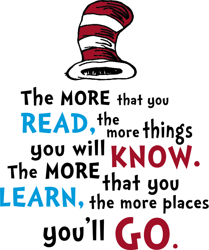 TenStickers. Dr Seuss, The more that you read fairy tale decal. Decorative and easy to apply fairy wall decal with text content '' the more you read the more you know and the more you learn the more you go''.