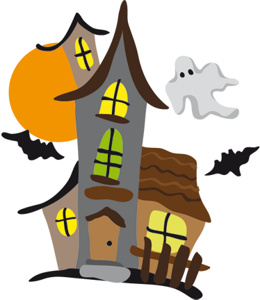 TenStickers. Haunted House Kids Sticker. Decorative sticker illustrating a haunted house on full moon night. Superb wall decal for your children´s rooms or play areas.