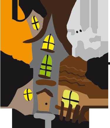 TenStickers. Sticker kinderen spookhuis. Muursticker van een spookhuis met een volle maan op de achtergrond. Een leuk idee voor de decoratie van de speelhoek of slaapkamer van uw kinderen.