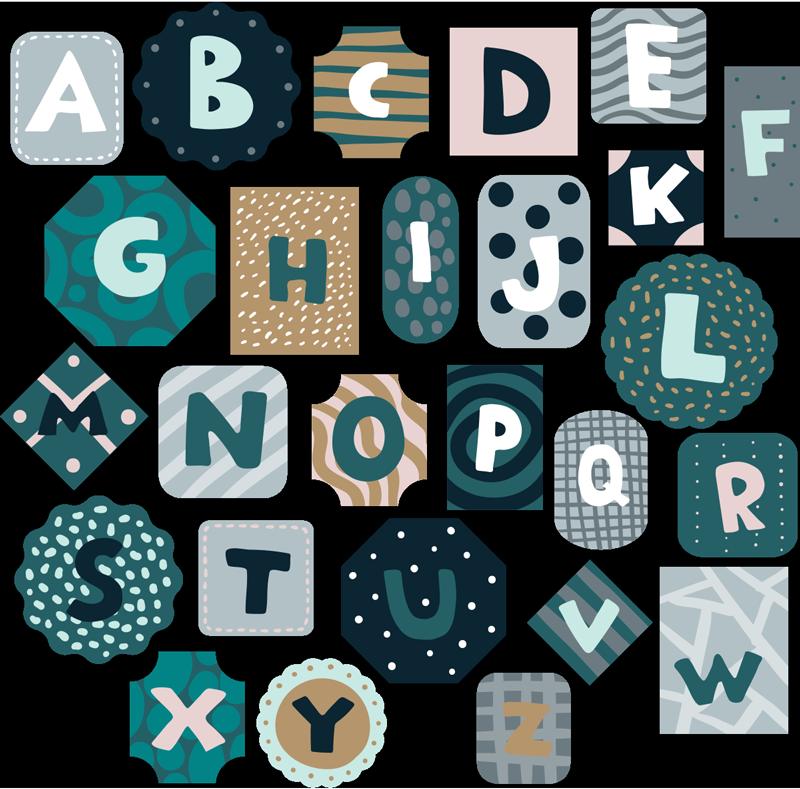 TenStickers. 字母北欧风格字母墙贴花. 易于在不同的背景形状和颜色中应用装饰性字母卧室墙贴,以美化墙和儿童学习工具。