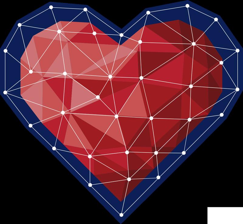 TenStickers. Vinil autocolante do amor coração estilo origami. Um vinil decorativo geométrico do amor para decorar a casa. Um magnífico coração formado pela união de pontos por linhas geométricas em estilo origami.