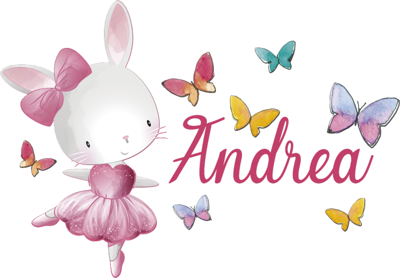 TenStickers. Girl dancing ballet  with name  illustration decal. Easy to apply wall decal for kids designed with a ballerina dancer in a cat style and pretty butterflies all around to add some energy for the day.