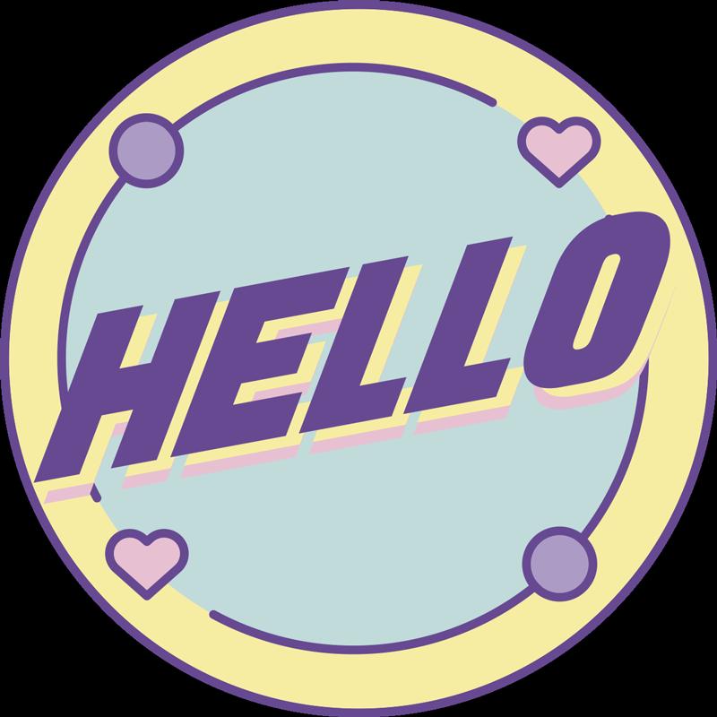 """TenStickers. Vinil decorativo original Hello estilo memphis  . Um vinil autocolante decorativo de texto """"Hello"""" em estilo memphis simples e adorável com cores pastel muito bonitas e em forma circular."""