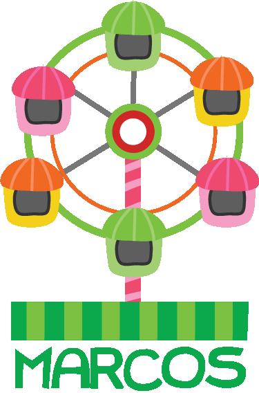 TenStickers. Vinis decorativos roda gigante. vinil decorativo para quarto infantil de uma ilustração colorida de uma roda gigante. Característica ideal para decorar áreas para crianças.