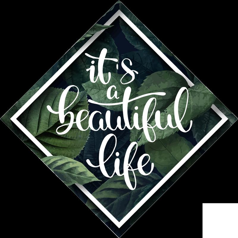 TENSTICKERS. 文美しい生命植物壁デカール. ボーダーと正方形のカラフルな緑の植物の背景にやる気を起こさせるテキストのこの簡単に適用できる壁用ステッカーを購入します。