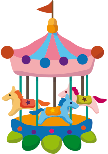 TenStickers. Kids Carousel Sticker. A creative sticker illustrating a colourful funfair carousel. Ideal to decorate your child's room or play area more cheerful.