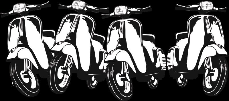 TenStickers. Zelfklevende muursticker met wespenmotor. Eenvoudig aan te brengen motor muurtattoo ontwerp met wespen en je zult het geweldig vinden op het muuroppervlak. Op het ontwerp staan vier fietsen in een rechte lijn.