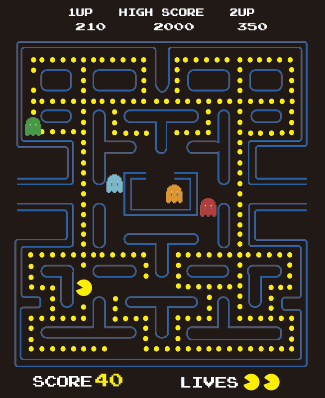 TenStickers. Pacman  video game wall decal. Easy to apply decorative wall vinyl decal of Pacman video games with all it features on it . It can be applied on any flat wall surface.