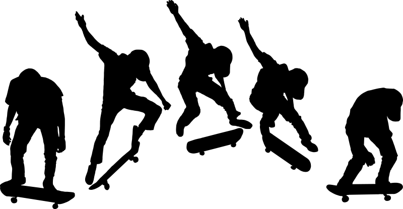TenStickers. Autocolante de desportos radicais salto de skate. Um vinil autocolante decorativo de skate que representa a evolução de um salto com o skate em silhueta.