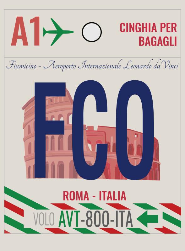 TenStickers. Autocolante vintage aeroporto roma. Desfrute de um vinil decorativo vintage aeroporto roma criado numa linda impressão gráfica em estilo retrato que vai adorar.