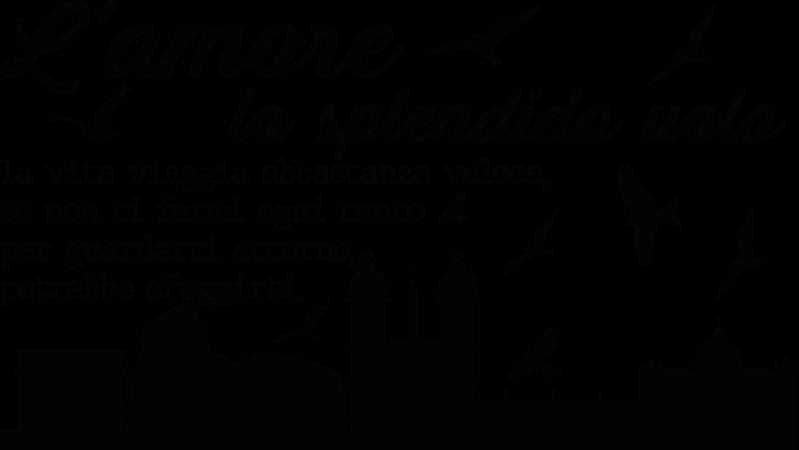 TenStickers. Testiera skyline con frase citazione decalcomania. sticker  della testiera decorativa facile da applicare dello skyline di roma con la vista della sua caratteristica principale della chiesa e degli uccelli che volano intorno e citano