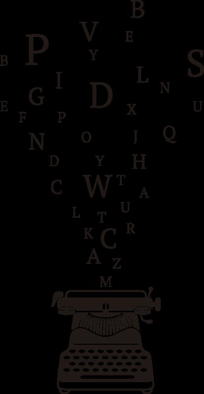 TenStickers. Naklejka na ścianę maszyna do pisania. Naklejka z maszyną do pisania stworzoną w monochromatycznym kolorze z porozrzucanymi literami wokół niej. Zamów online!