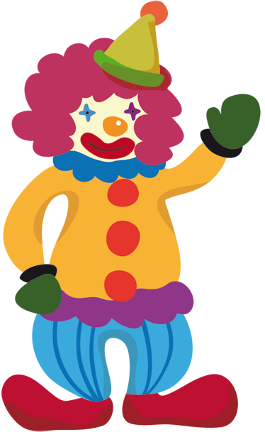 TenStickers. Colourful Clown Sticker. A brilliant kids wall sticker illustrating a friendly, happy and colourful clown to decorate your children's bedroom or play area.