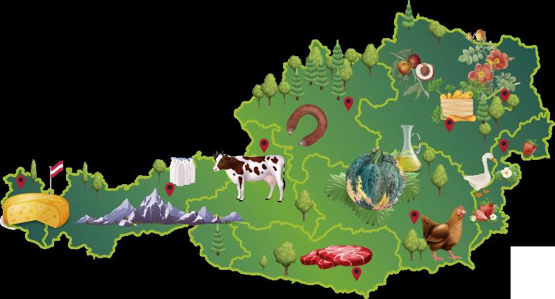 TenStickers. Bunte österreich karte kinder wandaufkleber. Einfach anzubringende dekorative und illustrative wandtattoo von österreich karte für kinderzimmer, die viele funktionen zur illustration und verschönerung enthält