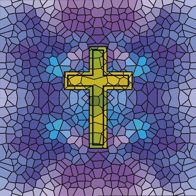 TenStickers. Heilig kruis gebrandschilderd raamsticker. Eenvoudig aan te brengen decoratieve glasbeits van een heilige kruis zelfklevende raamsticker om het te verfraaien, het ontwerp herbergt een kruis op een volledig geometrische vorm achtergrond.