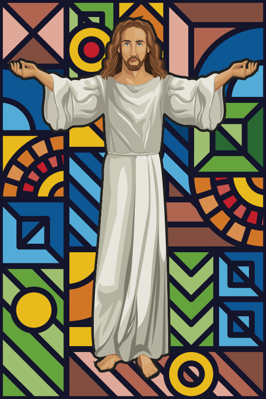 TenStickers. Jesus Stained glass window film window decal. Religion window decal of Jesus , On this design has the stain of Jesus with it background of multi colour shapes, .  Easy to apply on surface .