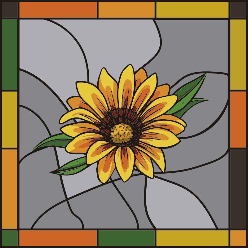 TenStickers. stickers fenetre de film de tournesol. stickers de fenêtre de tournesol facile à appliquer créé sur une forme de cadre carré que vous allez adorer. Vous pouvez l'utiliser sur la fenêtre de l'espace cuisine.