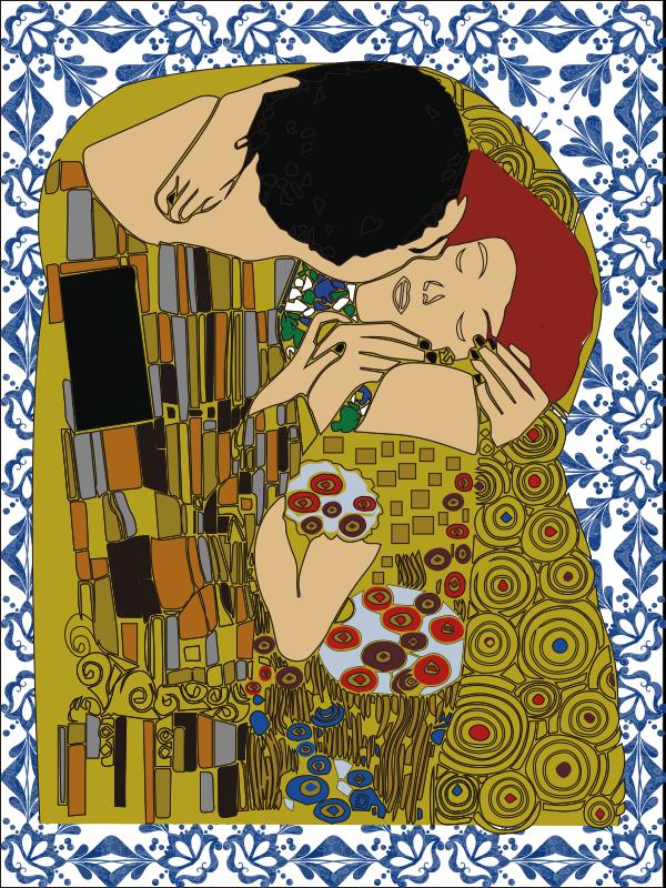 TenStickers. Sticker vitrail le baiser. autocollant de fenêtre décoratif créé avec un art de baiser tache, la conception présente deux personnes s'embrassant avec beaucoup d'art de fond en vedette.