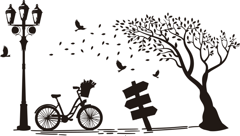 TenStickers. Autumn bike  vintage wall sticker. Easy to apply autumn wall art decal containing tree, bicycle and chair to enjoy the shade. You can have this design in any colour that you prefer.
