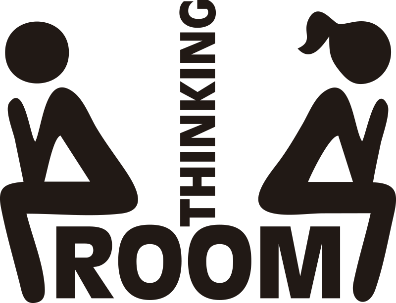 TenStickers. Bathroom sticker thinking room glass door decal. Easy to apply toilet door icon decal created with two people and a text that says '' rest room'' You can have it in any colour you prefer.