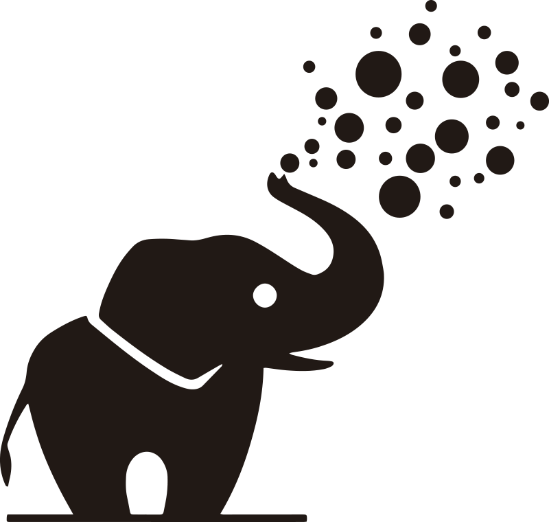 TenStickers. Bathroom with little elephant wild animal sticker. Easy to apply wall decal for bathroom created with an elephant with it trunk facing upward and blowing out bubbles. You can have it in any colour.