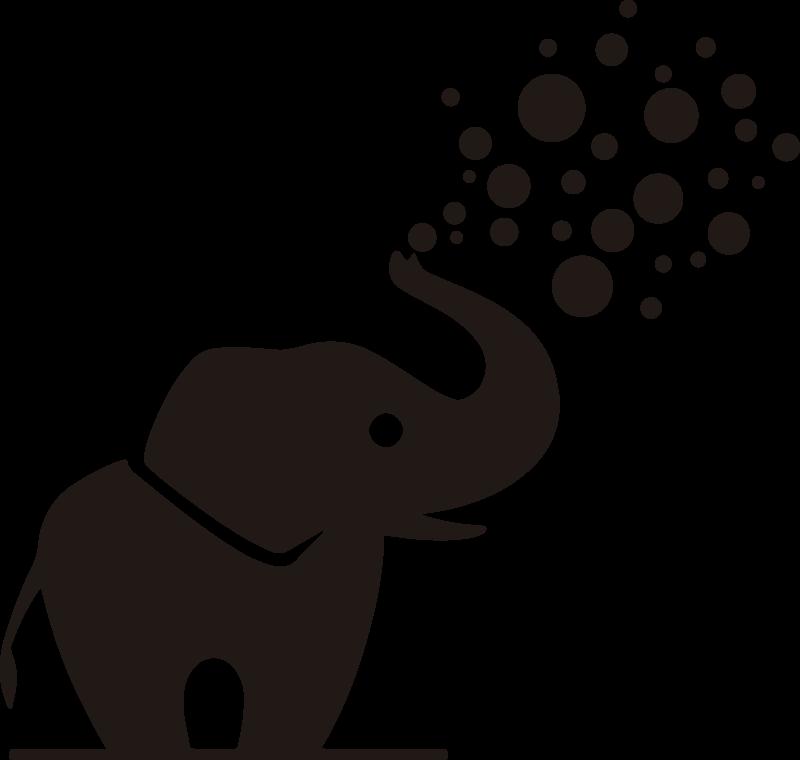 TenStickers. Naklejka do łazienki ze słoniątkiem. Udekoruj przestrzeń w łazience tą naklejką łazienkową ze słoniem, który ma długą trombę skierowaną do góry i wydmuchuje okrągłe bańki. Dostępne różne kolory!