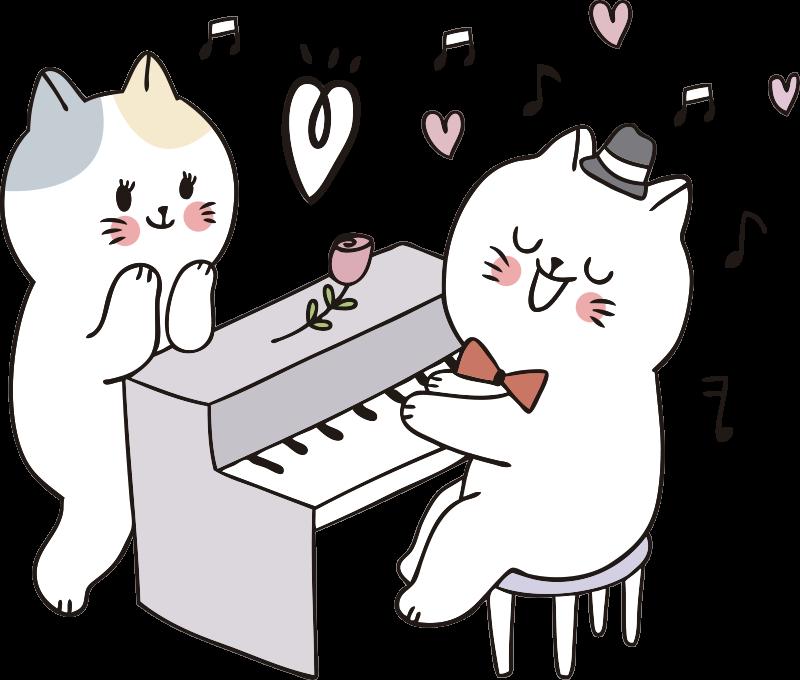 TenStickers. Naklejka kot grający na pianinie. Łatwa do zastosowania naklejka ścienna do dziecięcej przestrzeni przedstawiająca dwa koty grające na pianinie, a na nim piękną różę. Zamów online!