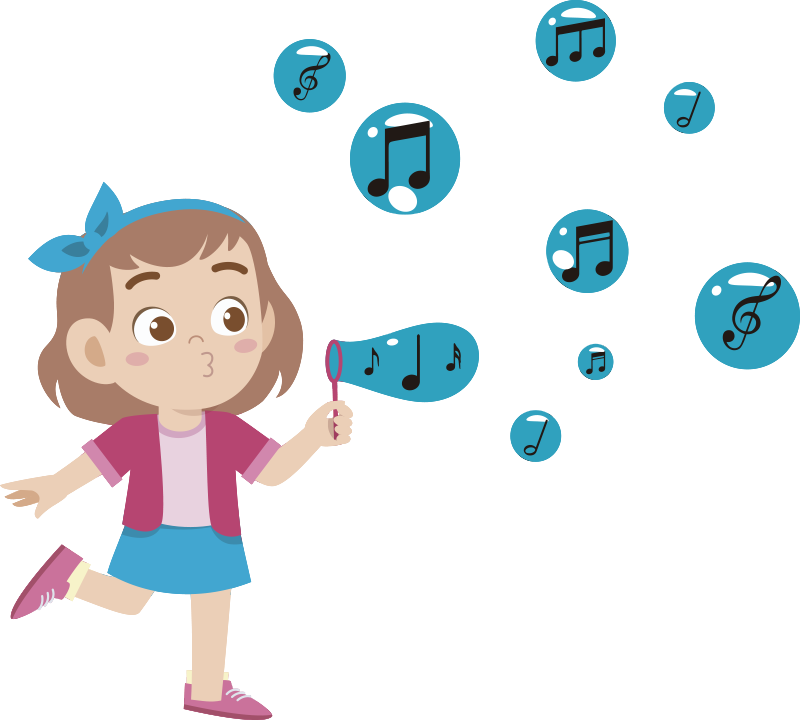 TenStickers. Child blowing notes illustration wall art. Easy to apply music wall  sticker for children created with music notes and a girl blowing these notes with excitement. Chose your preferred size.