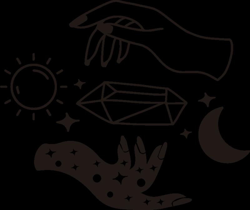 TenStickers. Tag und nacht vinyl wandaufkleber. Kaufen sie unsere einfach anzuwendende dekorative wandaufkleber zur darstellung von tag und nacht mit sonne, mond, sternen und zwei einander zugewandten händen.