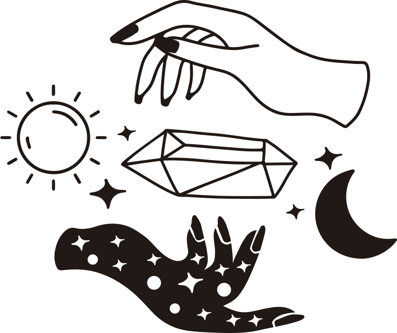 TenStickers. 白天和黑夜乙烯墙艺术. 购买我们易于应用的装饰性壁饰艺术,以日,夜,太阳,月亮,星星和两只手彼此相对的方式来代表白天和黑夜。