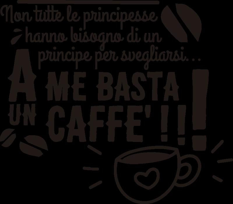 TenStickers. Sticker cucina con frase sul caffè. Adesivo decorativo da parete in vinile con la citazione popolare per bere un caffè. Su di esso ci sono una tazza di caffè e caratteristiche speciali.