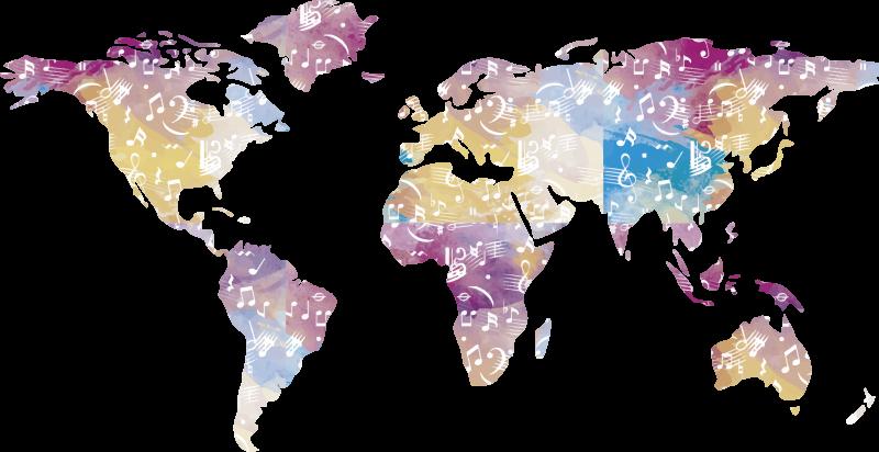 TenStickers. Instrument de musique carte du monde carte du monde stickers mura. autocollant mural facile à appliquer d'une carte du monde avec des notes de musique et une représentation d'instruments qui fera une belle apparence avec du style sur le mur.