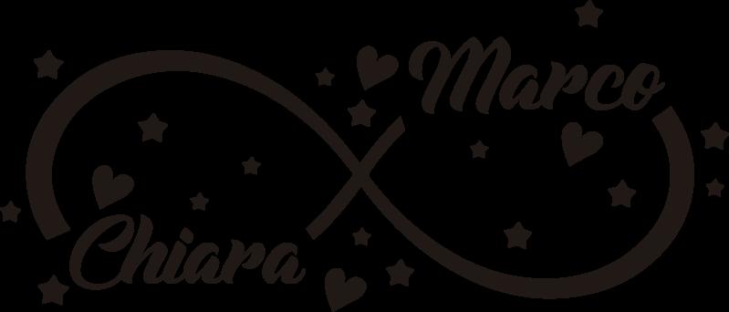 TenStickers. Adesivo in vinile personalizzabile per matrimonio eterno. Un adesivo in vinile per matrimonio personalizzabile creato con stelle e cuore con un nastro che collega due nomi di una coppia innamorata. Puoi averlo a tuo nome.