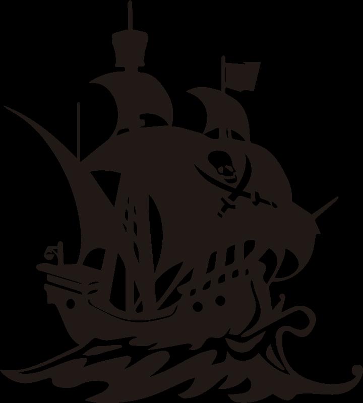 TenStickers. Piratenschiff kinder illustration wandtattoo. Ein dekoratives piratenschiff illustration wandtattoo für kinderzimmer. Auf dem design befindet sich ein schiff auf dem meer mit allen merkmalen und einem piratensymbol.