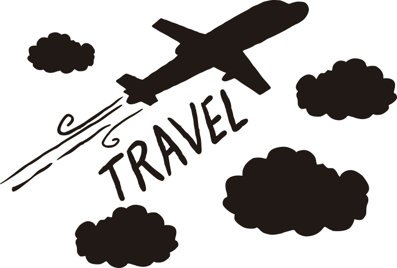 TenStickers. Plane with clouds  illustration wall art. Decorate the wall of your kid or youth room with this wall sticker of a plane flying through the cloud up in the atmosphere. You can chose the colour.