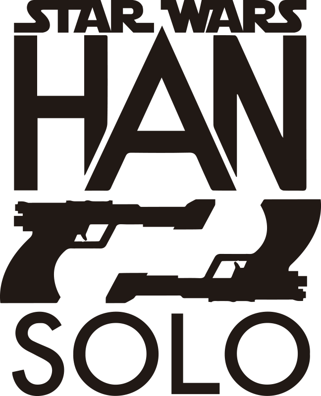 TenStickers. Sticker Star Wars Han Solo cinema decal. Easy to apply decorative wall sticker from the movie star wars, on the design are two guns pointing to each other and the name Han solo.