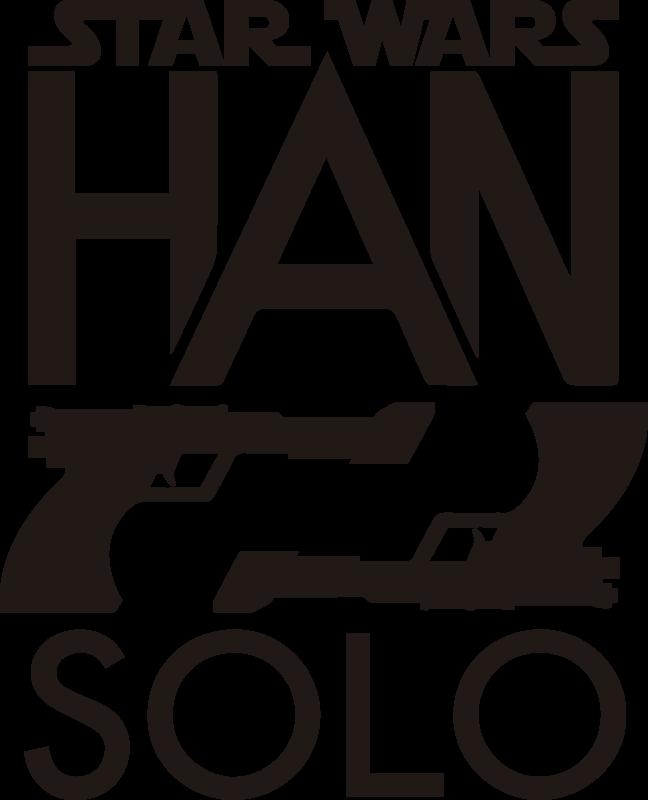 """TenStickers. Vinil decorativo de cinema Star Wars Han Solo. Um vinil decorativo juvenil de cinema alusivo à grande saga """"Star Wars"""" (Guerra das Estrelas). Um design fantástico do logotipo da saga e o nome da personagem Han Solo."""