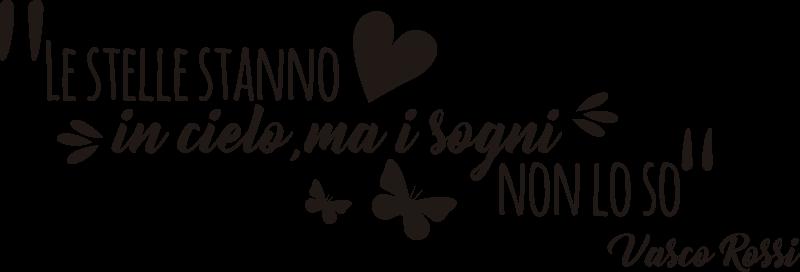 TenStickers. sticker citazione adesivo citazione vasco rossi. Adesivo da parete per camera facile da applicare con citazione di Vasco Rossi con farfalle e cuore che adorerai. Puoi esplorare il design in qualsiasi colore.