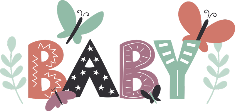 TenStickers. Baby Butterflies baby wall decal. Easy to apply adhesive wall decal for baby nursery room designed with the text '' baby'' in multi colours with butterflies, flowers and stars.