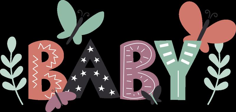 """TenStickers. 婴儿蝴蝶婴儿墙贴花. 易于在婴儿保育室中使用粘贴式墙贴花,并以蝴蝶,花朵和星星等多种颜色设计文字"""" baby""""。"""
