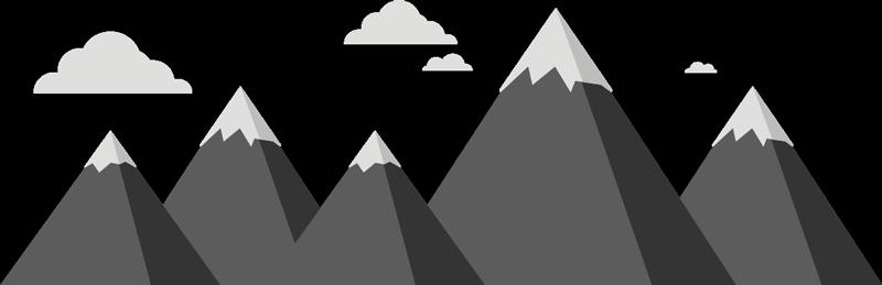 TenStickers. adhesif montagnes et nuages. Sticker décoratif chambre à coucher de la montagne et apparence de nuage de scandinave avec la base de la montagne en noir et le sommet en gris.
