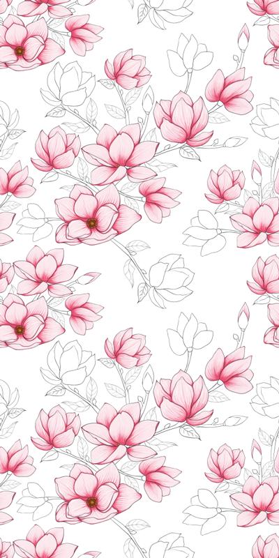 TenStickers. Rosa Magnolie blumen fenster aufkleber. Dekorieren sie ihr fenster mit unserem fenster-vinyl-aufkleber mit magnolienblüten, der auf einem durchscheinenden hintergrund farbenfroh ist, um den essbereich zu verschönern.