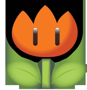 TenVinilo. Pegatina amapola Mario Bros. Adhesivo de dibujos animados de una flor de fuego del legendario videojuego Super Mario Bros. Decoración infantil original y divertida.